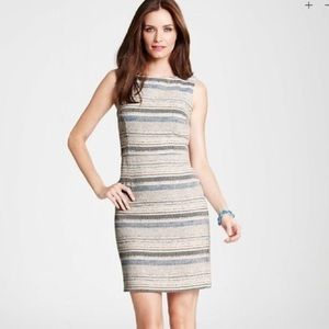 ANN TAYLOR TEXTURED STRIPE TWEED DRESS
